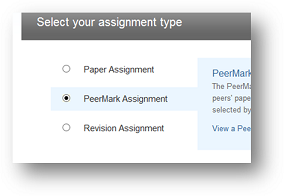 picture of PeerMark assignment choices