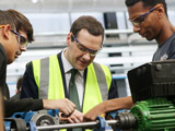 AMRC apprentices with UK chancellor George Osborne