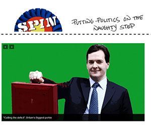 Screengrab from Spin magazine, showing a banner and George Osborne