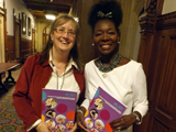 Helen Woolley (left) with Baroness Floella Benjamin at the launch of the report