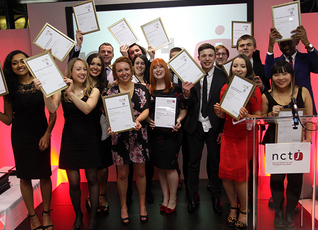 NCTJ winners celebrate their awards