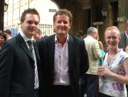 Image of Claire Bates and Chris Johnson with Piers Morgan