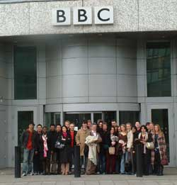 Students outside the BBC's Television Centre
