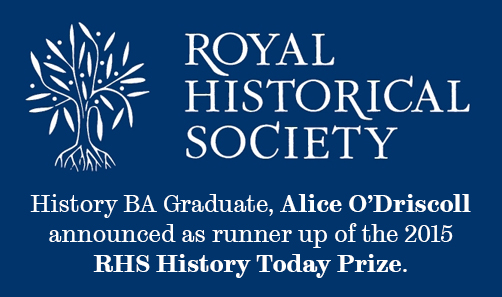 Royal Historical Society runner up banner.