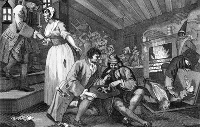 An illustration of 18th-century thieves robbing the wealthy in England by William Hogarth