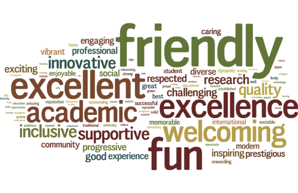 We asked alumni to list the top three words they would use to describe the University of Sheffield.