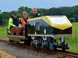 Student competing in the railway challenge