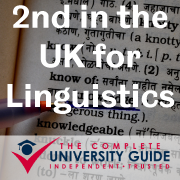 Storming through to number two is the University of Sheffield. This year's finish in the Linguistics