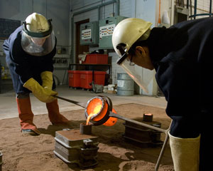 Students Working in the Foundry