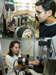 Ph.D. students Ritesh Rawal and Sharon de Souza get to grips with the new STOE STADI P.
