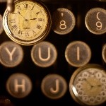 Image of typewriter keys and pocketwatches
