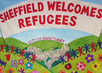 sheffield welcomes refugees banner