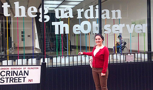 A Sheffield journalism student visiting the Guardian offices