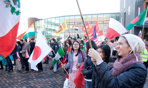 Students at the University of Sheffield showing their support for international students