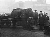 Lizzie the elephant working in the Kelham Island area of Sheffield during WWI