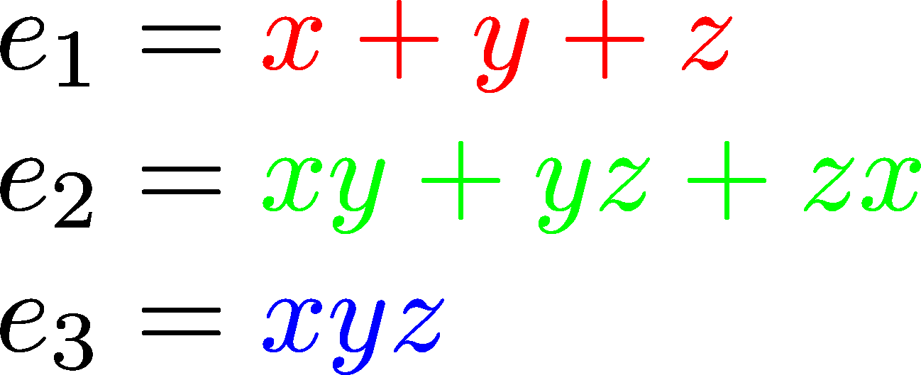 elementary symmetric polynomials in three variables