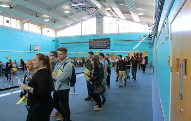 Students in the queue for registration