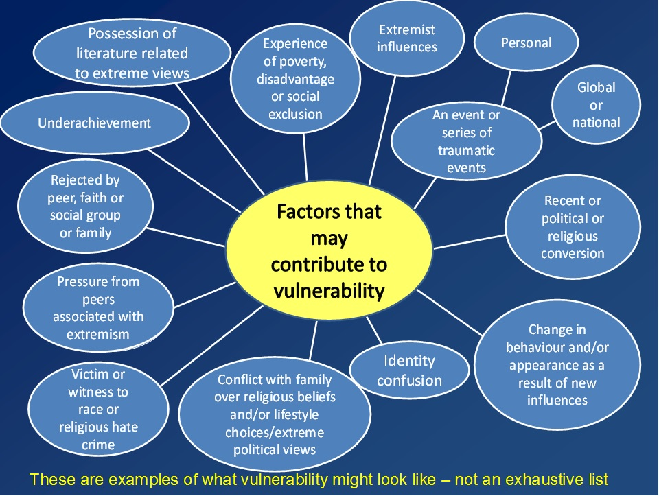 Diagram showing factors which may contribute to vulnerability