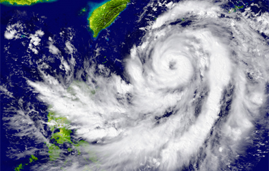 A satellite image of a hurricane approaching South East Asia