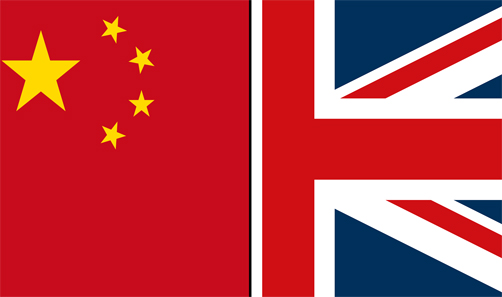 The flags of China and the UK joined together