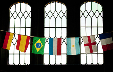 Flags in front of window