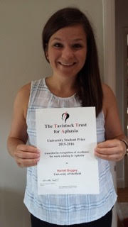 Harriet with her Tavistock Trust for Aphasia award