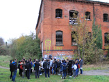 Students at the abandoned Friargate Goods Yard in Derby
