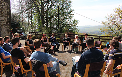 Students studying outside at Reading Weekend