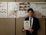 Aaron Yu with his merit award from the Hong Kong Institute of Landscape Architects (HKILA) Design Aw