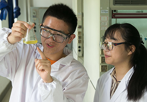Two students studyinbg at Nanjing Tech University as part of the university collaboration