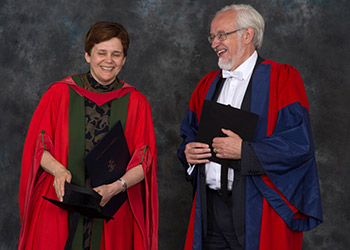 Dr Irina Prokhorova with the University's Public Orator Professor Paul White