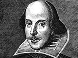 Monochrome portrait sketch of William Shakespeare