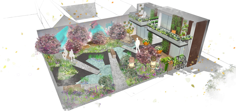 The Greening Grey Britain Garden at the 2017 Chelsea Flower Show has been designed by Nigel Dunnett