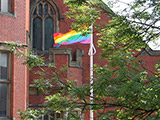A rainbow flag at the University of Sheffield