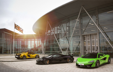 McLaren super cars at the University's Factory 2050