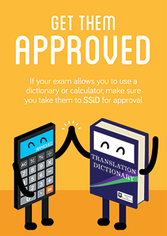 Exam Calculators and Dictionaries