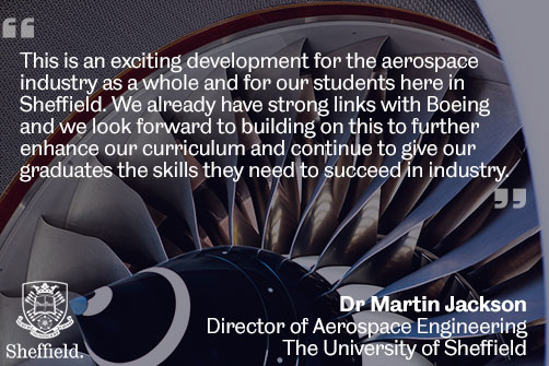 Dr Martin Jackson quote about the new Boeing facility in Sheffield
