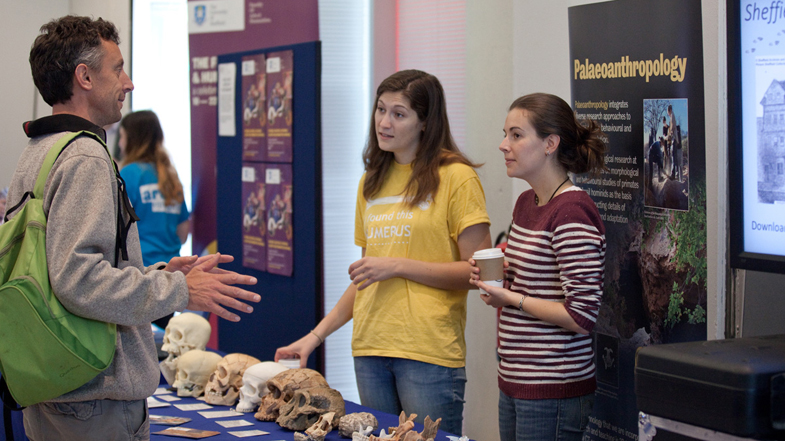A member of the public talking to researchers from the University of Sheffield