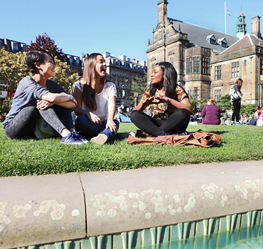 Students on grass in Sheffield