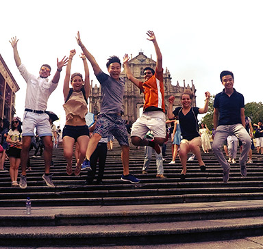 Jumping on steps: students abroad