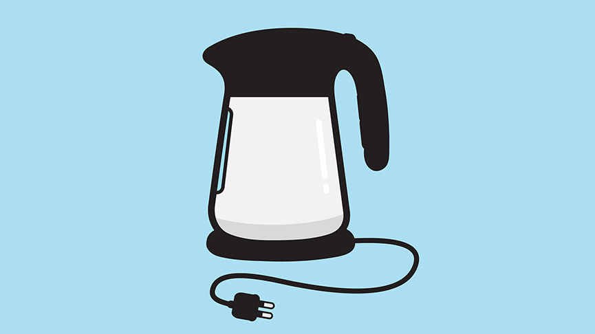Kettle illustration on blue background