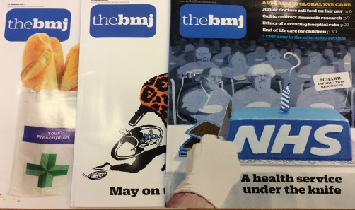Cover image of 3 copies of the BMJ