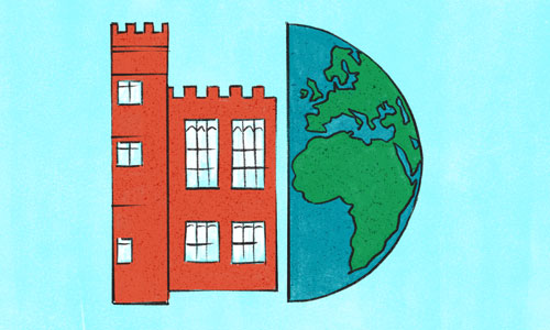 Illustration of Firth Court and globe to represent the University's impact locally and globally