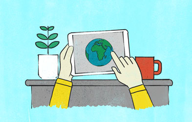 Illustration showing hands holding tablet with globe image