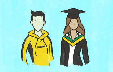 Illustration of a male student in a yellow jumper and a female graduate in gown