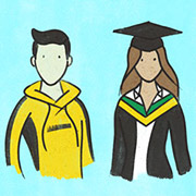 Illustration of male student and female graduate