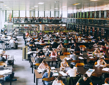 Students studying at Western Bank library. Photo by ES Kwon