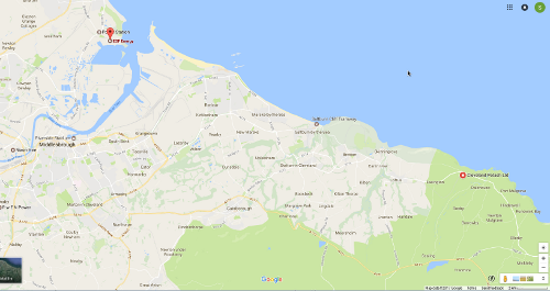 Map showing locations of Boulby Mine and Hartlepool power station