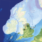 Outline of the extent of the last British-Irish Ice Sheet