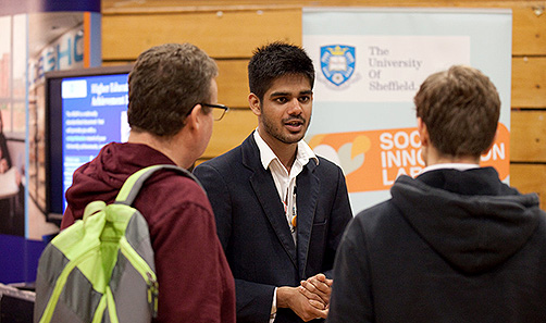 Visitors receiving information at an open day
